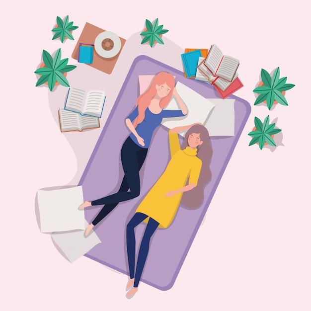 Młode Kobiety Relaksuje W Materac W Sypialni Darmowych Wektorów