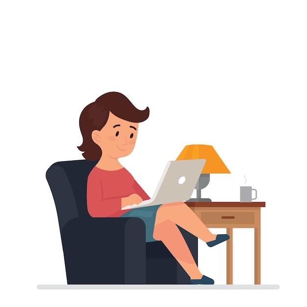 Młode kobiety siedzą i pracują z laptopami w domu Premium Wektorów