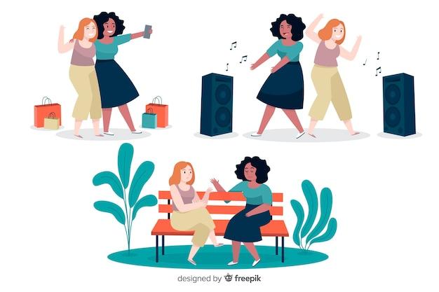 Młode kobiety spędzają razem czas Darmowych Wektorów