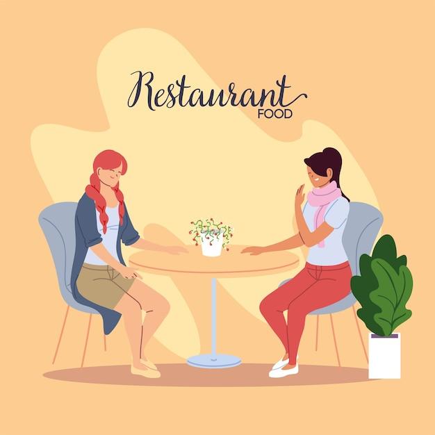 Młode Kobiety Uśmiechając Się I Rozmawiając W Pięknym Projekcie Ilustracji Restauracji Premium Wektorów