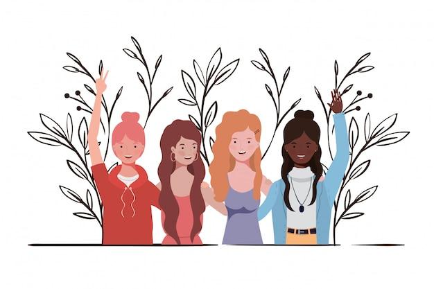 Młode kobiety z krajobrazową ilustracją Premium Wektorów