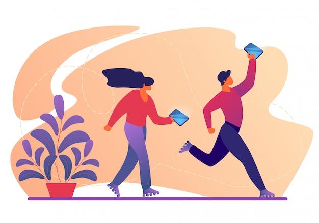 Młode postacie męskie i żeńskie chodzenie na rolkach z smartfonów w ręce. Premium Wektorów