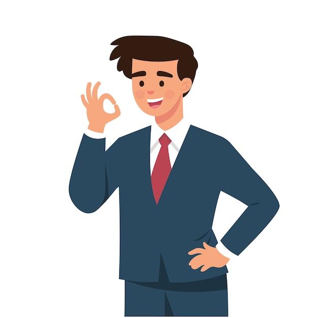 Młody biznesmen powiedział tak gestami palców Premium Wektorów