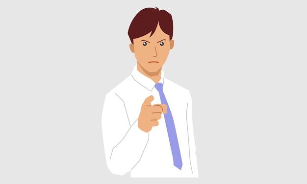 Młody Biznesmen, Wskazując Palcem Premium Wektorów