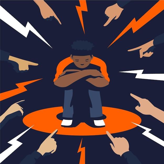 Młody Chłopak Jest Dyskryminowany Ze Względu Na Kolor Skóry Darmowych Wektorów