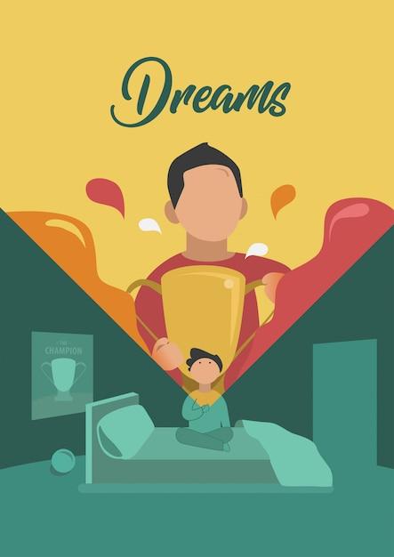 Młody chłopak marzy, aby osiągnąć ilustracji wektorowych Premium Wektorów