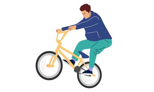 Młody Chłopak Pokazując Sztuczkę Freestyle Z Rowerem Premium Wektorów