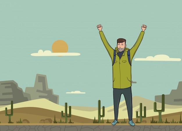 Młody Człowiek, Backpacker Z Podniesionymi Rękami Na Pustyni. Turysta, Odkrywca. Symbol Sukcesu. Ilustracja Z Miejsca Na Kopię. Premium Wektorów