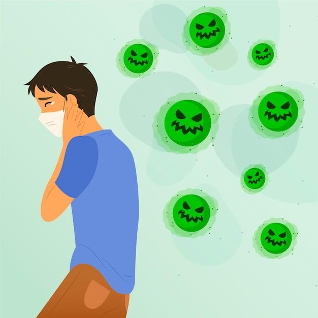 Młody Człowiek Boi Się Koronawirusa Darmowych Wektorów