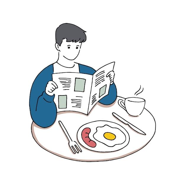 Młody Człowiek Czytając Gazetę Jedząc śniadanie, Koncepcja Dzień Dobry, Ręcznie Rysowane Ilustracji Wektorowych Stylu Sztuki Linii. Premium Wektorów