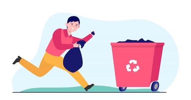 Młody Człowiek Działa I Wynoszenie śmieci Darmowych Wektorów