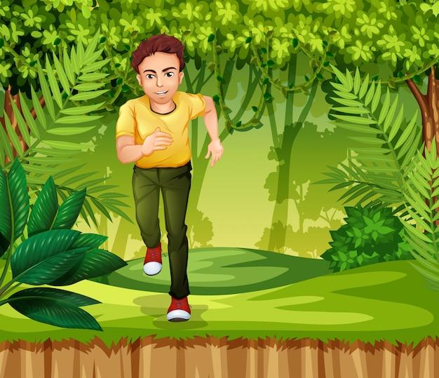 Młody człowiek działa w dżungli Premium Wektorów