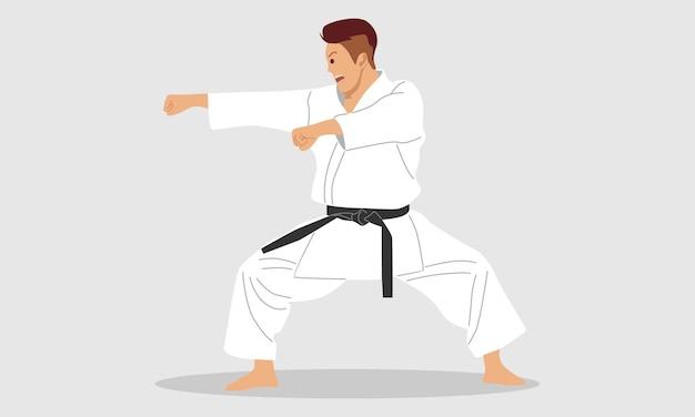 Młody Człowiek Karate Premium Wektorów