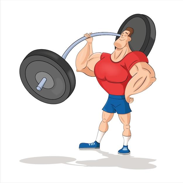Młody Człowiek, Kulturysta, Sztangista Robi Biceps, Trenuje Ramiona Z Ciężarkami Premium Wektorów