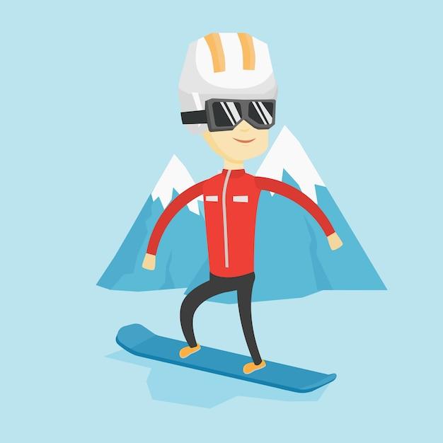 Młody Człowiek Na Snowboardzie Ilustracji Wektorowych. Premium Wektorów