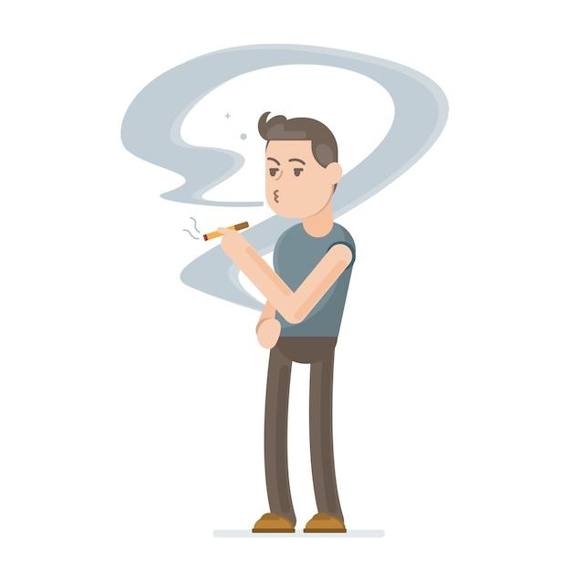 Młody Człowiek Palenia Papierosów Premium Wektorów