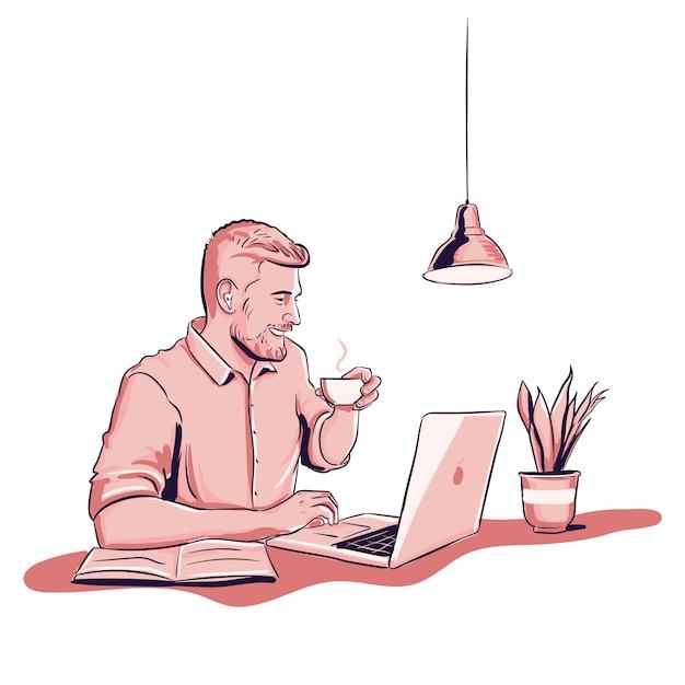 Młody Człowiek Pracuje Na Laptopie I Pije Kawę Z Rośliną Darmowych Wektorów