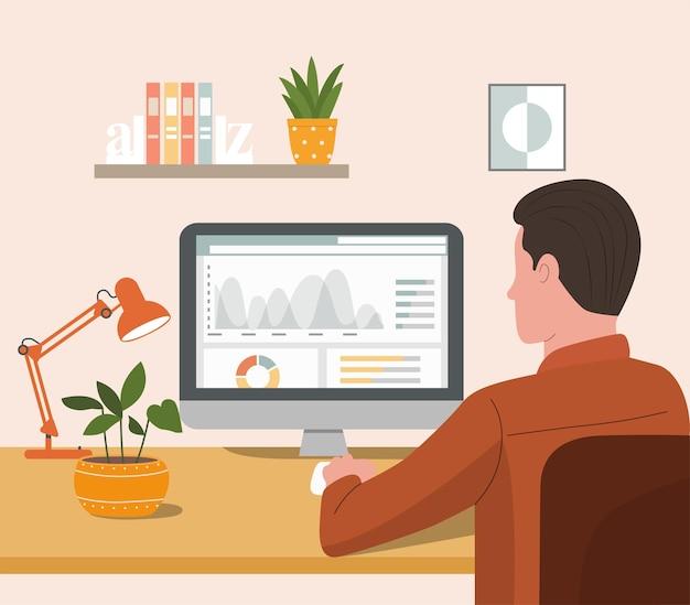 Młody Człowiek Pracuje Z Komputerem Premium Wektorów