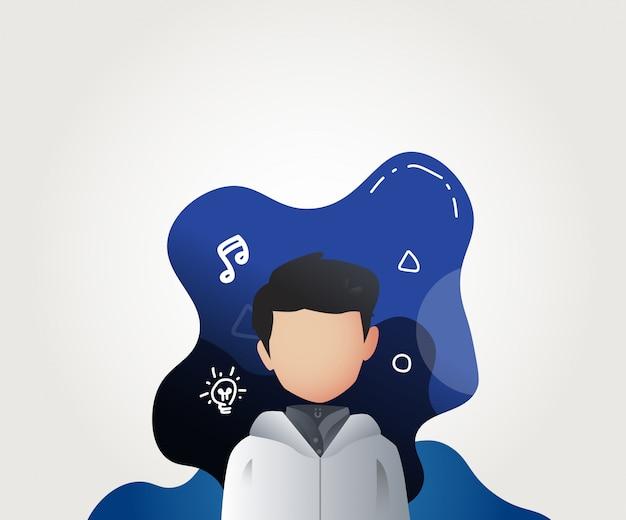 Młody człowiek profil awatar ilustracja wektor Premium Wektorów