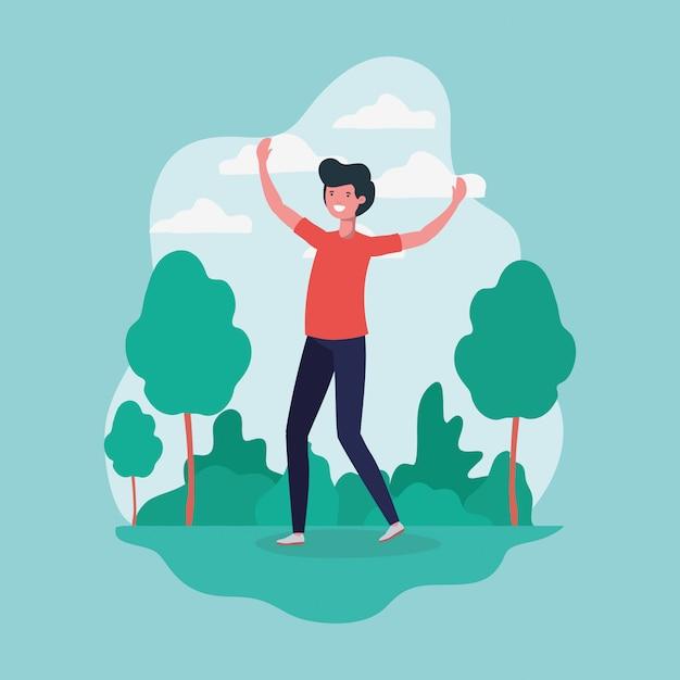 Młody człowiek skoki obchodzi w charakterze parku Darmowych Wektorów