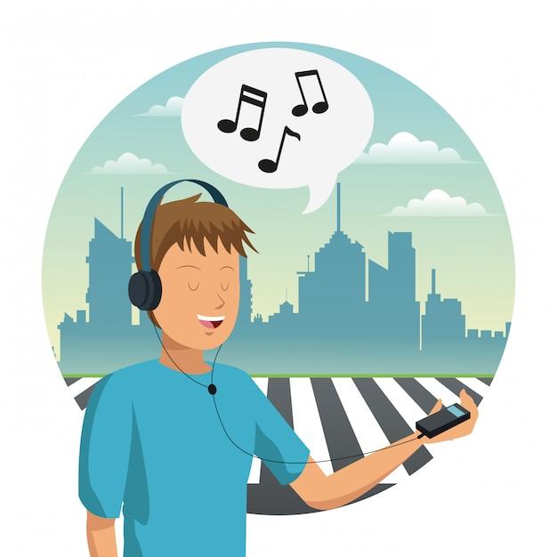 Młody Człowiek Słucha Muzyki Premium Wektorów
