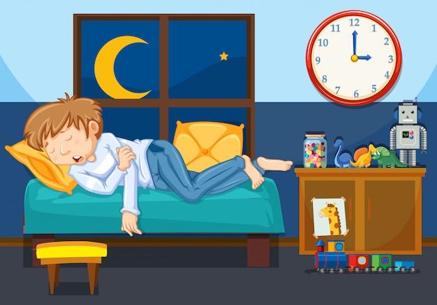 Młody człowiek śpi w sypialni Darmowych Wektorów