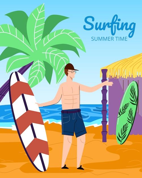 Młody człowiek surfer gospodarstwa surfowania pokładzie na ilustracji piaszczystej plaży Premium Wektorów