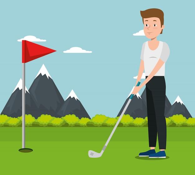 Młody człowiek uprawiania golfa Darmowych Wektorów
