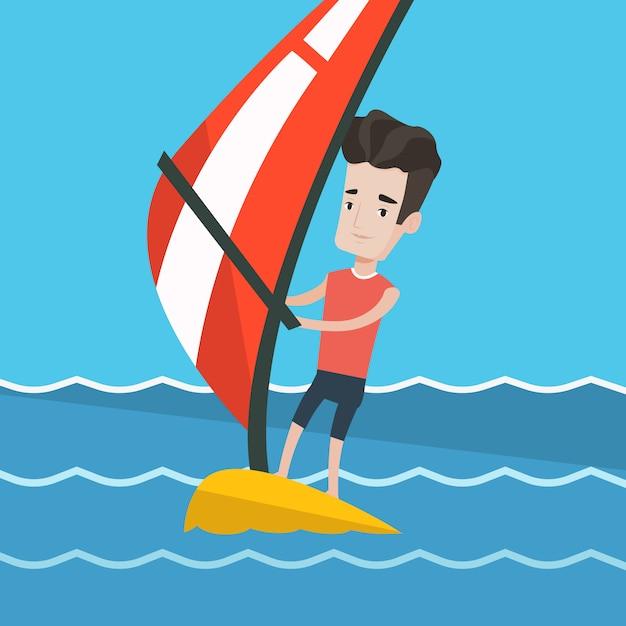 Młody Człowiek Windsurfing Na Morzu. Premium Wektorów