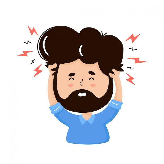 Młody Człowiek Z Bólem Głowy. Pojęcie Stresu. Wektorowa Płaska Postać Z Kreskówki Ilustracja. Odosobniony Premium Wektorów