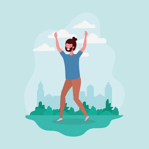 Młody człowiek z brodą skoki w parku charakter Darmowych Wektorów