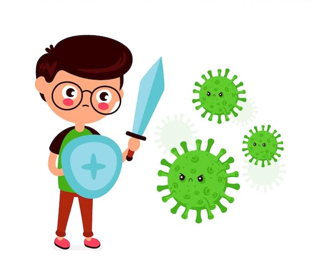 Młody Człowiek Z Mieczem I Tarczą Walczy Ze Złym Zakażeniem Koronawirusem, Mikro Bakteriami. Premium Wektorów