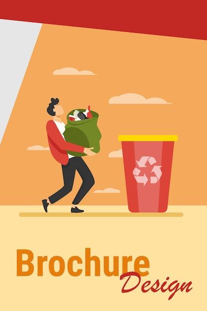 Młody Facet Niosący Torbę Ze śmieciami Do Kosza. Kontener, śmieci, Ilustracja Wektorowa Płaskie śmieci. Pojęcie Ekologii I Recyklingu Darmowych Wektorów