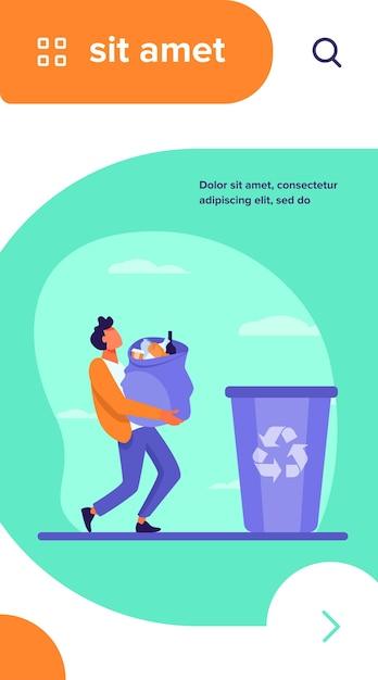 Młody Facet Niosący Torbę Ze śmieciami Do Kosza. Kontener, śmieci, Ilustracja Wektorowa Płaskie śmieci Darmowych Wektorów