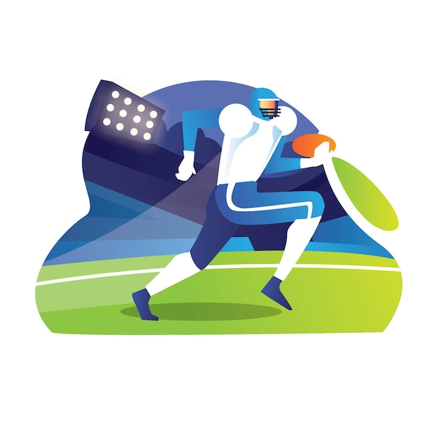 Młody Gracz Rugby Biegnie, Aby Zdobyć Wynik Homerun Do Gry Premium Wektorów