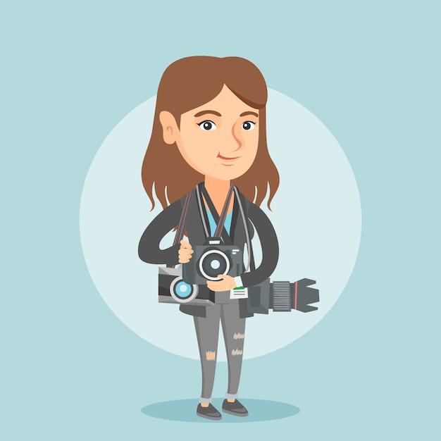 Młody kaukaski fotograf z aparatami fotograficznymi. Premium Wektorów