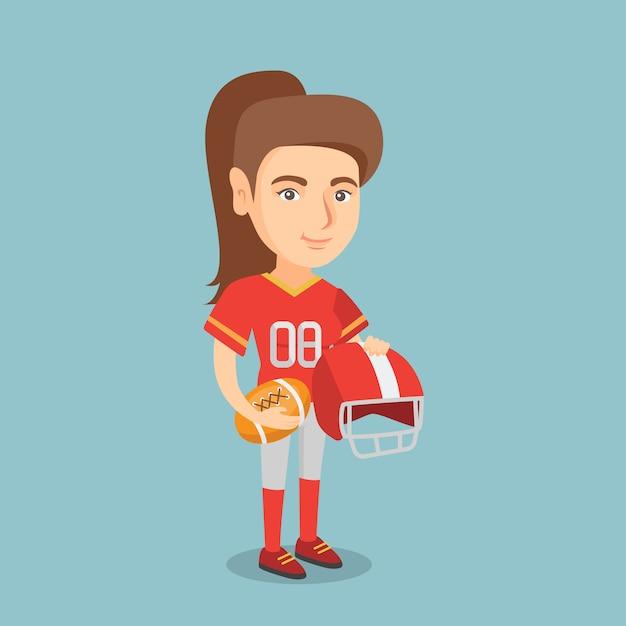 Młody Kaukaski Kobieta Rugby Player. Premium Wektorów