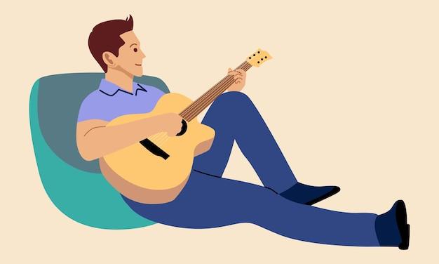 Młody Muzyk Gra Na Gitarze Premium Wektorów