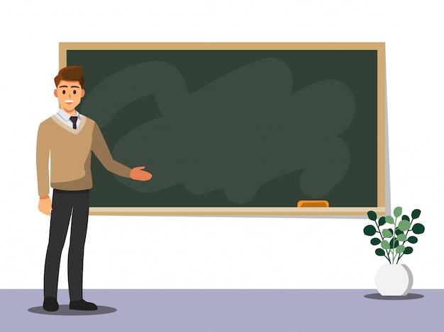 Młody Nauczyciel Mężczyzna Na Lekcji Na Tablicy W Klasie Premium Wektorów