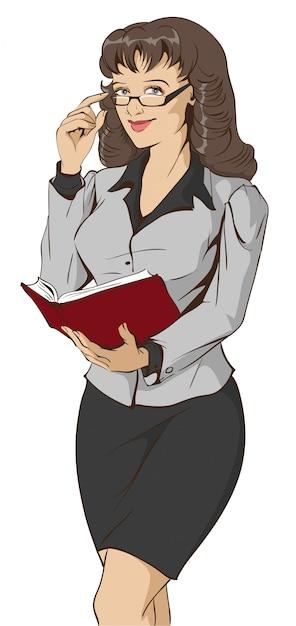 Młody Piękny Kobieta Nauczyciel Trzyma Otwartą Książkę Premium Wektorów