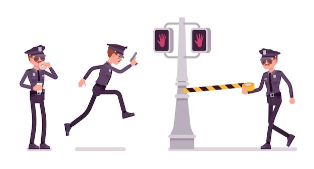 Młody Policjant Prowadzący Dochodzenie W Sprawie Zbrodni W Mieście Premium Wektorów