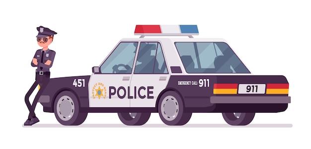 Młody policjant stojący w pobliżu transparent samochodu Premium Wektorów