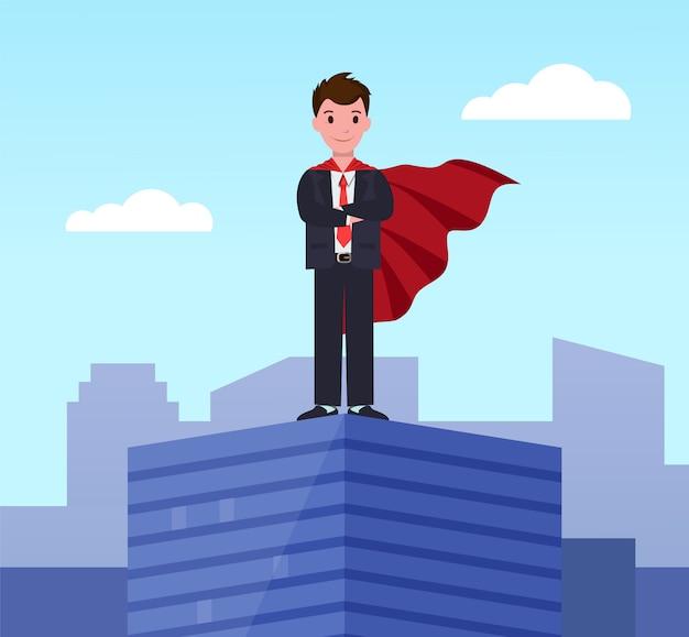 Młody pracownik wykonawczy supermana w płaszczu superbohatera Premium Wektorów