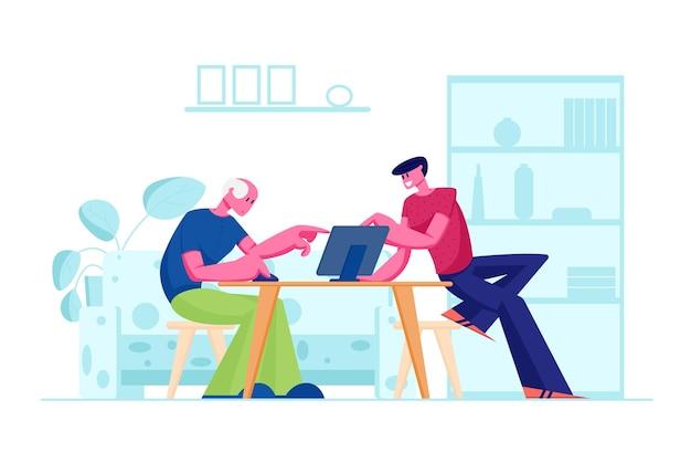 Młody Syn Uczy Ojca Siedzącego Przy Stole, Jak Korzystać Z Laptopa. Płaskie Ilustracja Kreskówka Premium Wektorów