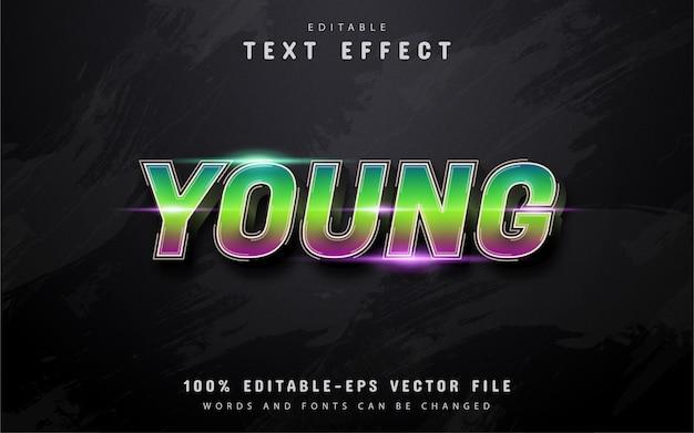 Młody Tekst, Edytowalny Efekt Tekstu Gradientu Premium Wektorów