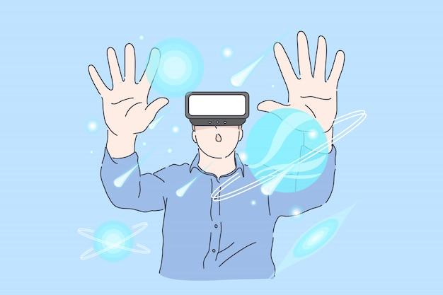 Młody udany projekt człowieka w wirtualnej rzeczywistości w biurze. Premium Wektorów