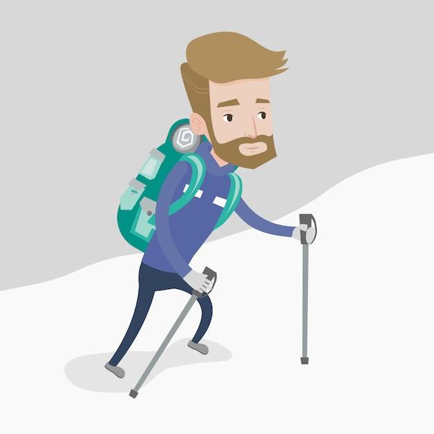 Młody Wspinacz Wspinający Się Po śnieżnej Grani. Premium Wektorów