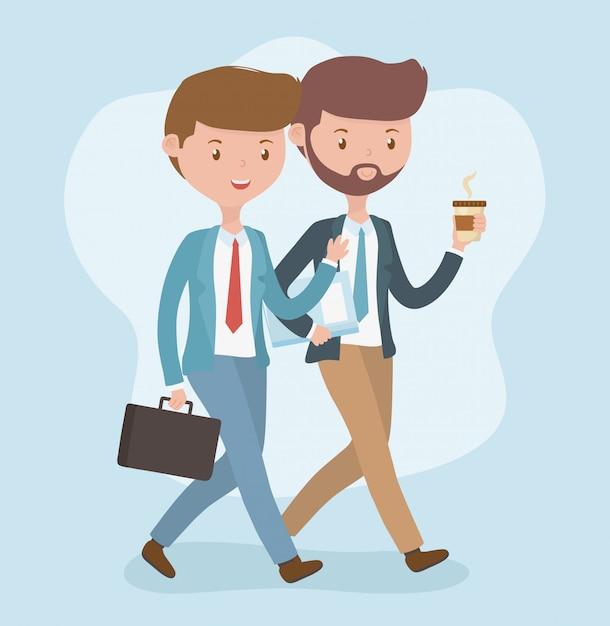 Młodzi biznesmeni chodzi avatars charaktery Darmowych Wektorów