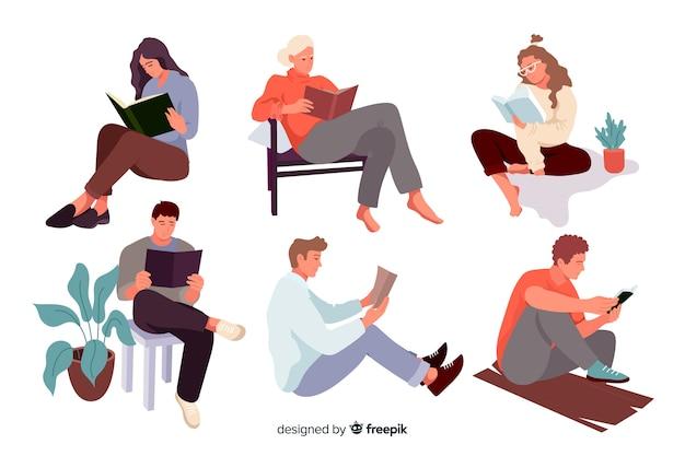 Młodzi Ludzie Czytający Książkę Premium Wektorów