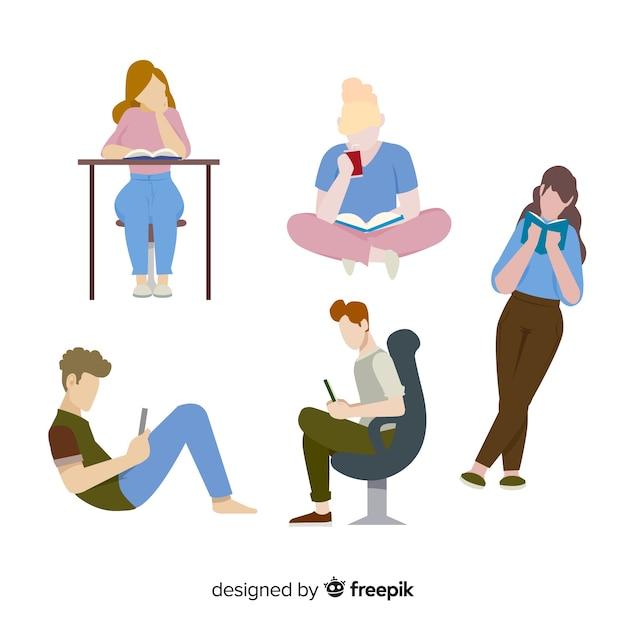 Młodzi ludzie czytający Darmowych Wektorów